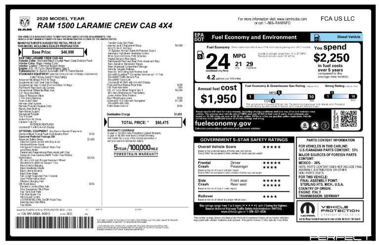 Used 2020 Ram Ram Pickup 1500 Laramie