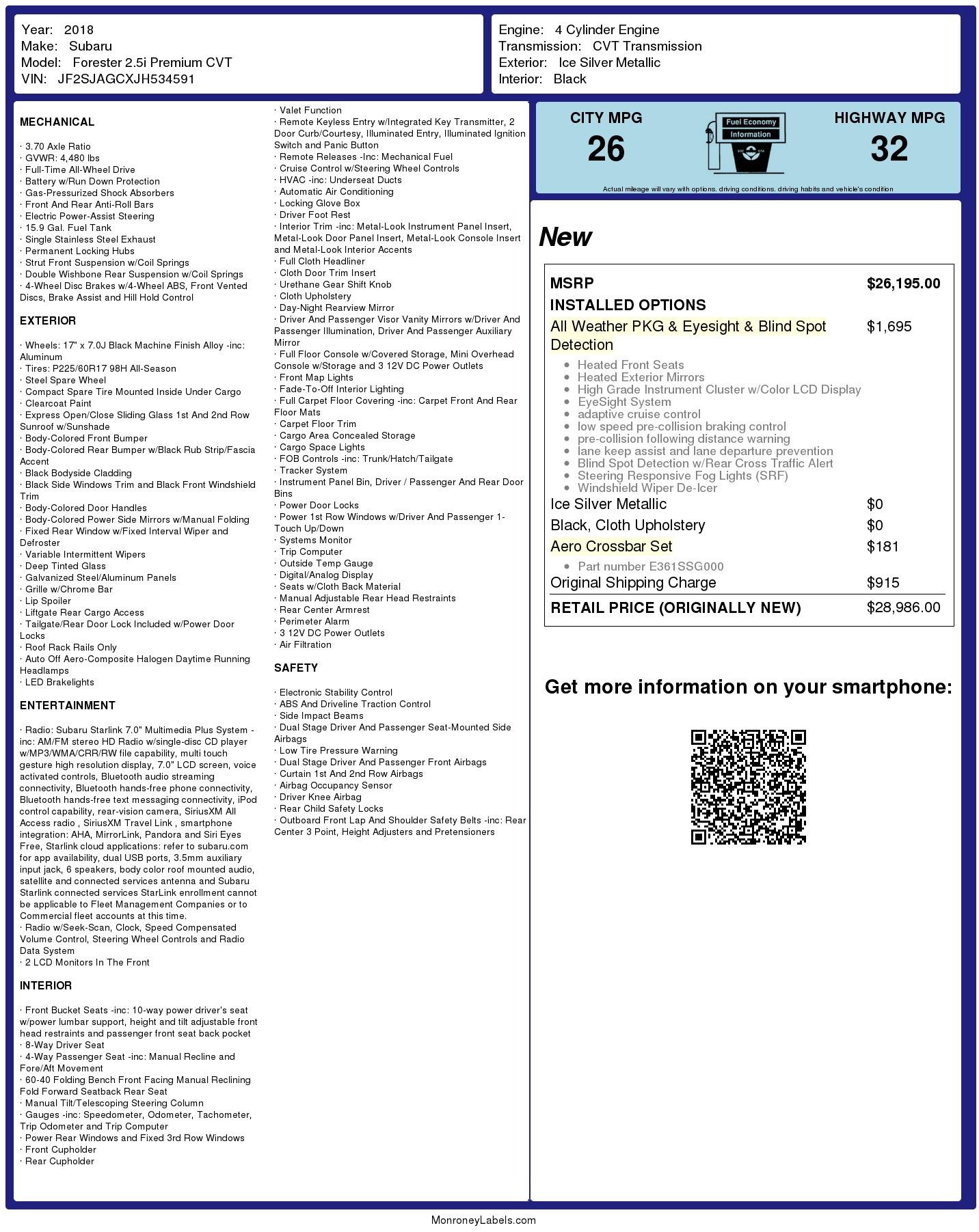 Used 2018 Subaru Forester 25i Premium Sport Utility 4D
