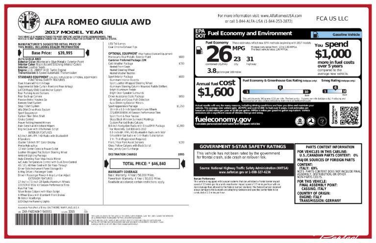 Used 2017 Alfa Romeo Giulia