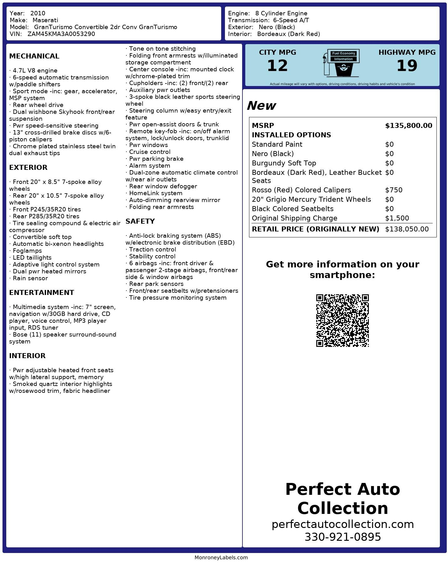 Used 2010 Maserati GranTurismo for sale $38,495 at Perfect Auto Collection in Akron OH 44310 4