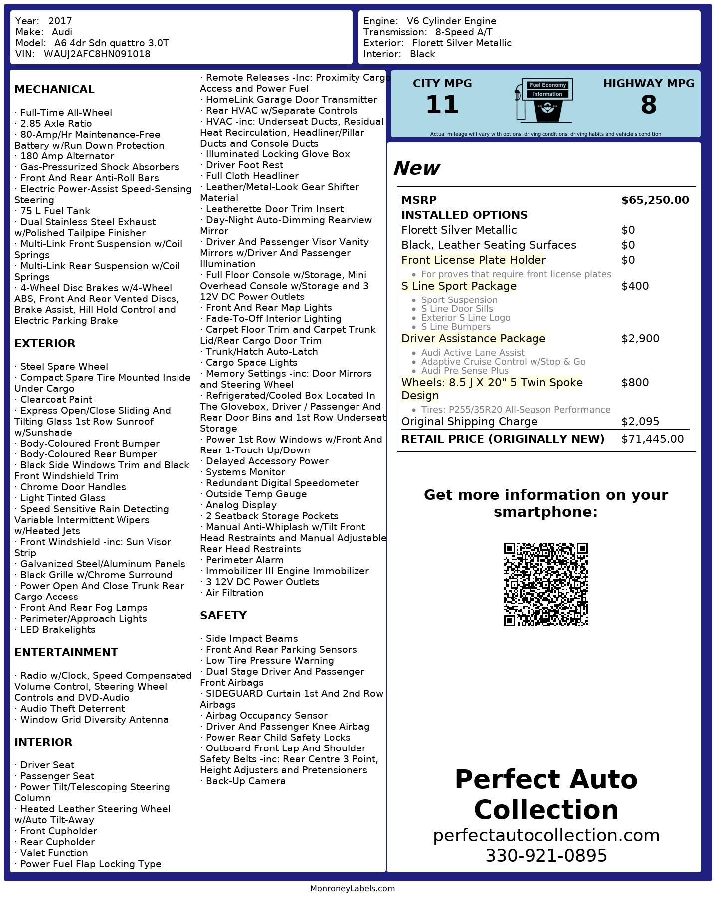 Used 2017 Audi A6 3.0T quattro Prestige Technik for sale $35,995 at Perfect Auto Collection in Akron OH 44310 4