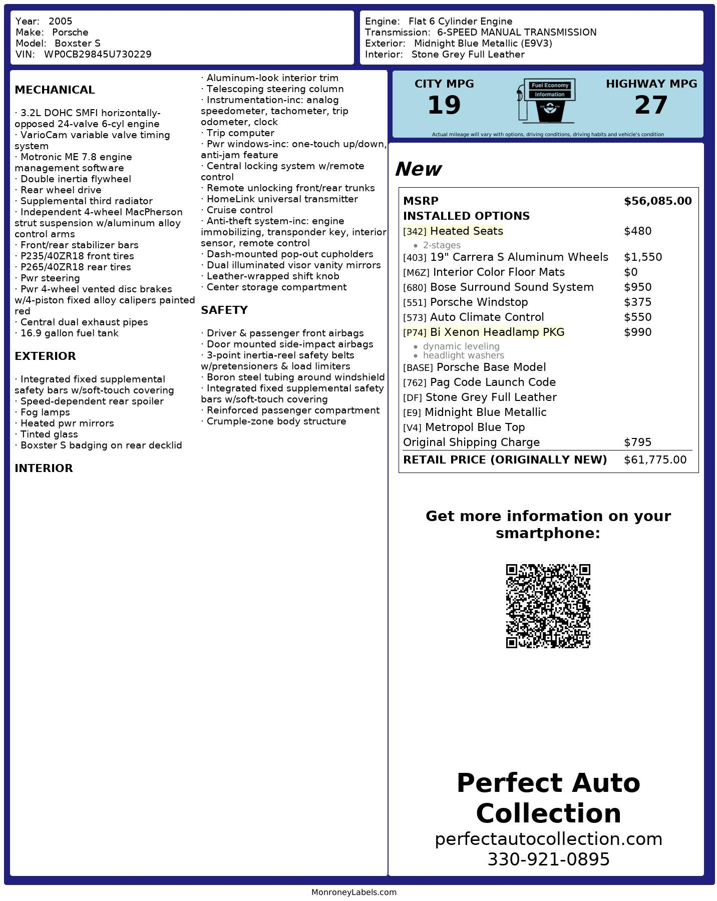 Used 2005 Porsche Boxster S for sale $24,495 at Perfect Auto Collection in Akron OH 44310 2