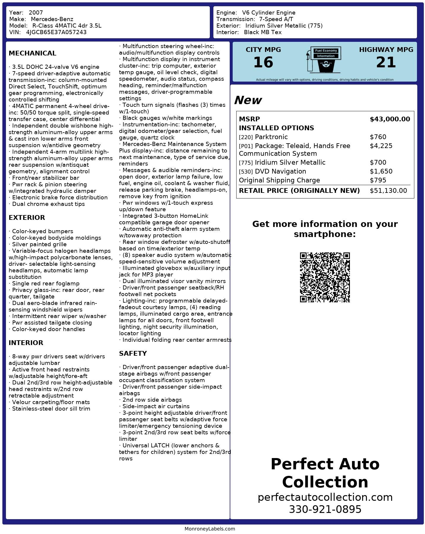 Used 2007 Mercedes-Benz R-Class R 350 for sale $7,895 at Perfect Auto Collection in Akron OH 44310 4