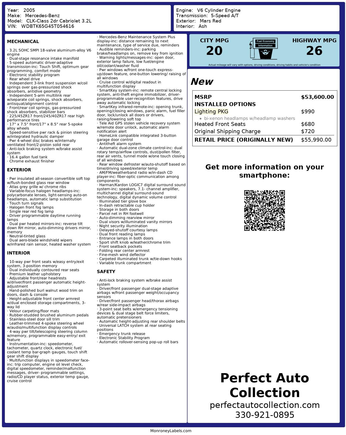 Used 2005 Mercedes-Benz CLK CLK 320 for sale $11,955 at Perfect Auto Collection in Akron OH 44310 4